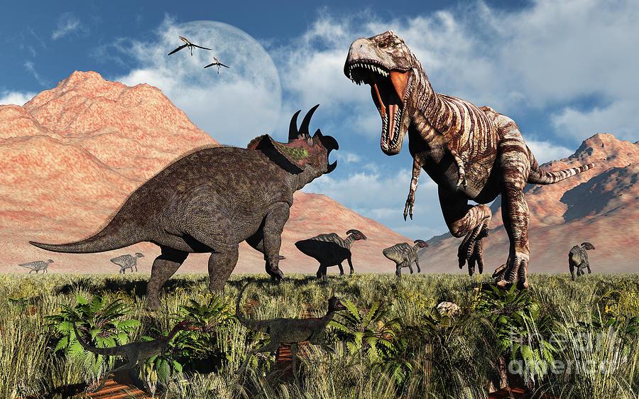 Horizontal Digital Art - Prehistoric Battle by Mark Stevenson