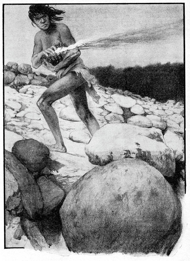 1909 Photograph - Prehistoric Man With Fire by Cci Archives