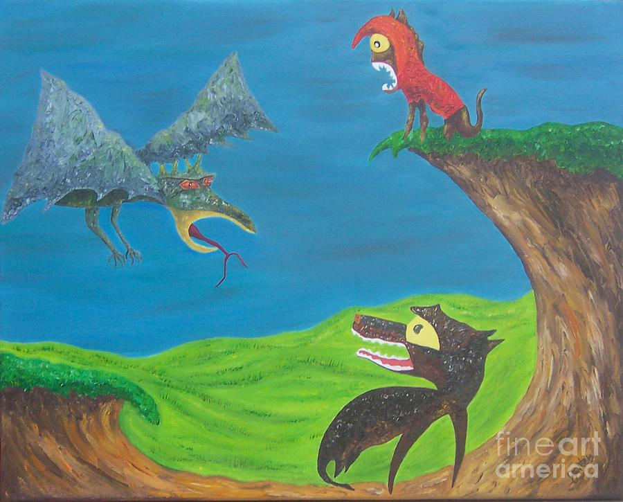 Oil Painting - Prehistoric Pets by JoNeL Art