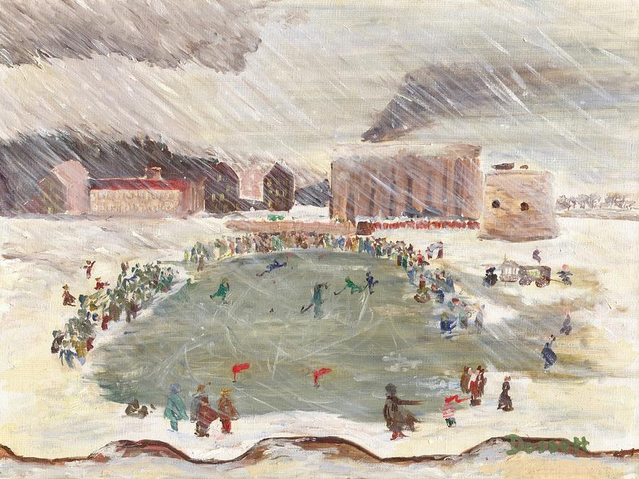 Hockey Painting - Premier Match De Hockey by David Dossett
