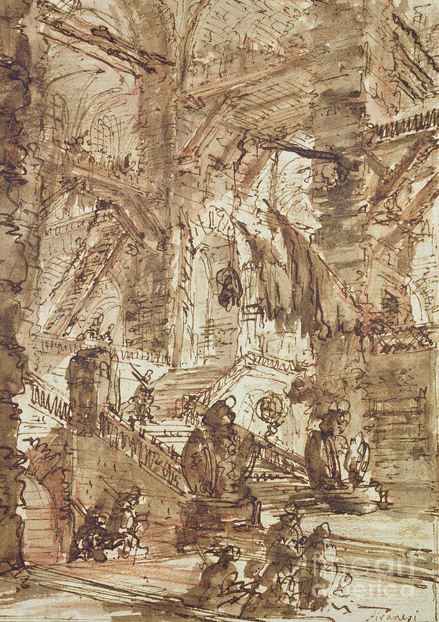Piranesi Drawing - Preparatory Drawing For Plate Number Viii Of The Carceri Alinvenzione Series by Giovanni Battista Piranesi