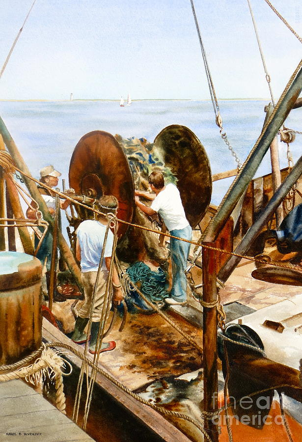 Fishermen Painting - Preparing The Nets by Karol Wyckoff