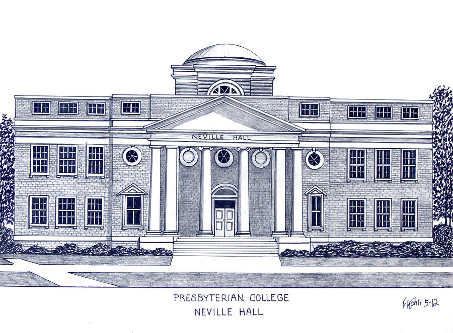 Pen And Ink Drawings Drawing - Presbyterian College by Frederic Kohli