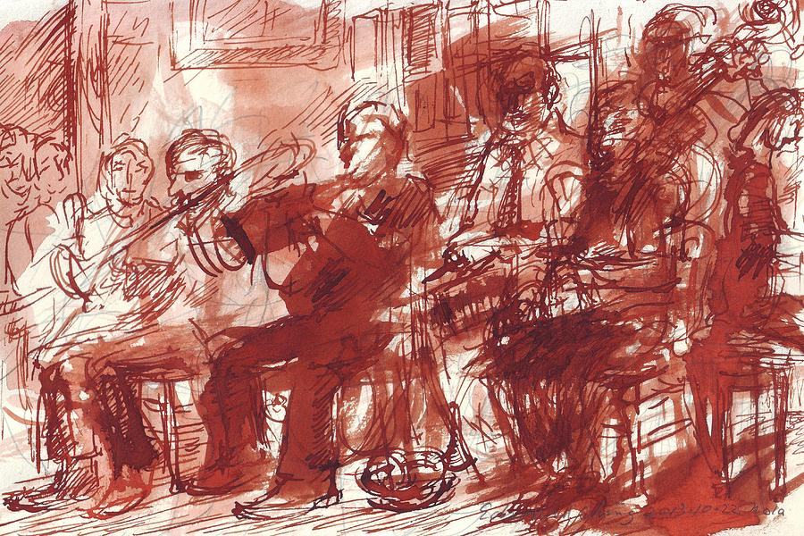 Preservation Drawing - Preservation Hall Band New Orleans  by Edward Ching