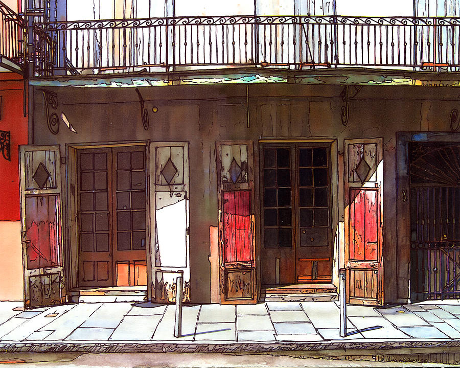 French Quarter Painting - Preservation Hall Doors 370 by John Boles