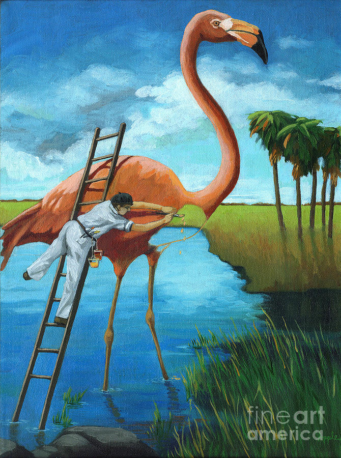 Flamingo Painting - Preserving Wildlife by Linda Apple