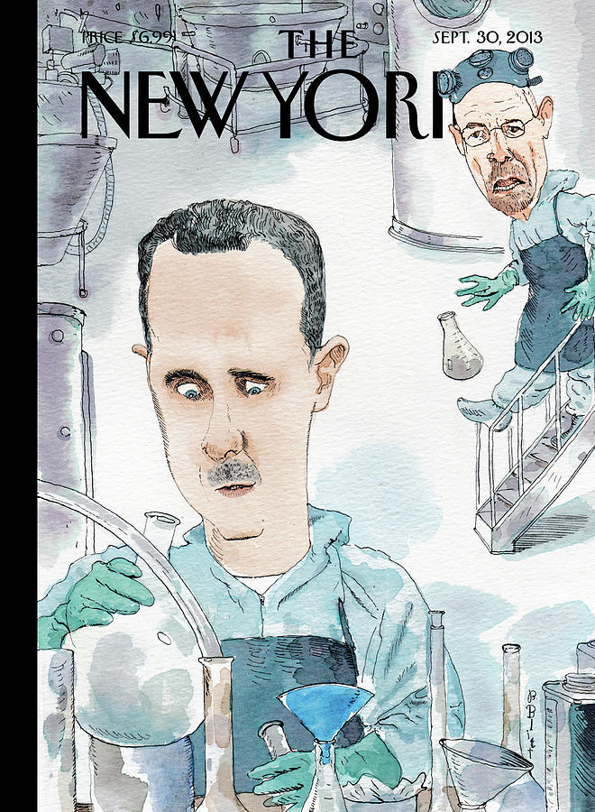 President Assad Cooks Up A Chemical Cocktail Painting by Barry Blitt