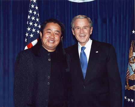 White House Photograph - President George Bush by Cao Yong