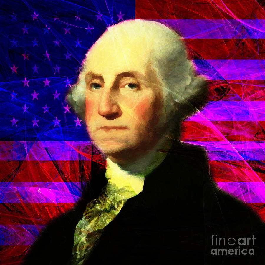 Celebrity Photograph - President George Washington V2 M123 Square by Wingsdomain Art and Photography