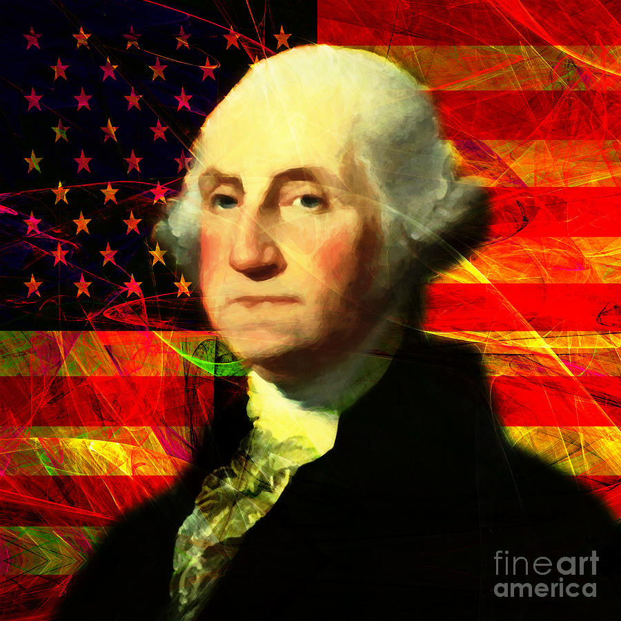 Celebrity Photograph - President George Washington V2 M20 Square by Wingsdomain Art and Photography