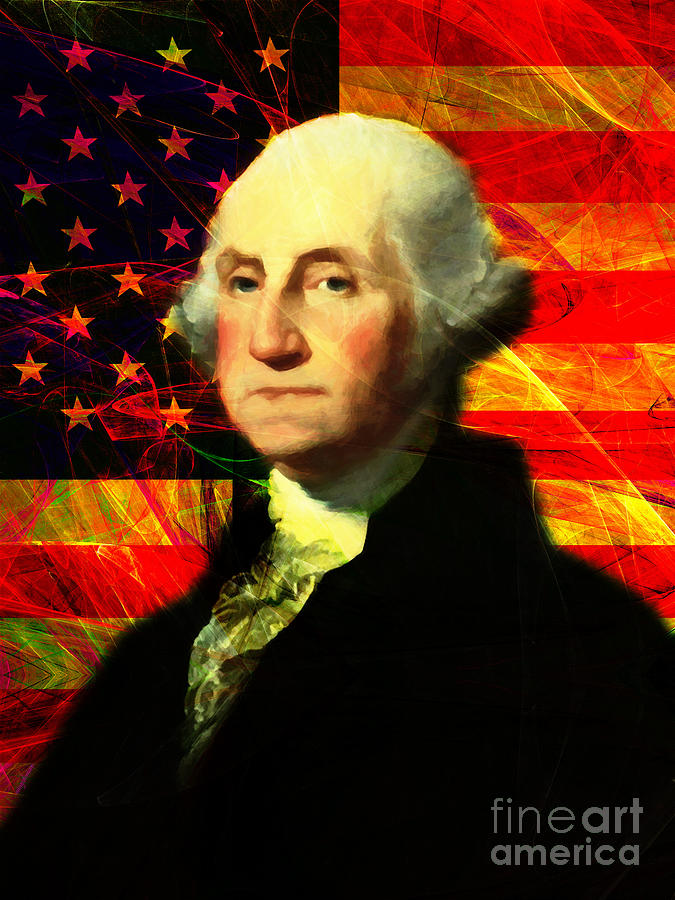 Celebrity Photograph - President George Washington V2 M20 by Wingsdomain Art and Photography