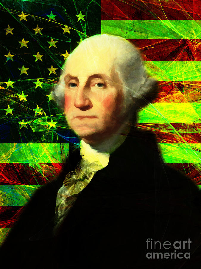 Celebrity Photograph - President George Washington V2 P50 by Wingsdomain Art and Photography