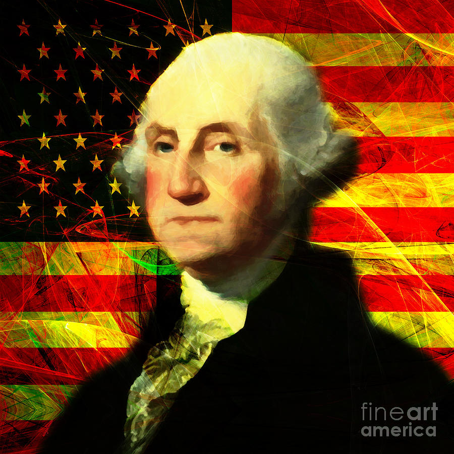 Celebrity Photograph - President George Washington V2 Square by Wingsdomain Art and Photography