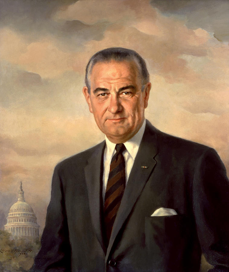 Lbj Painting - President Lyndon Johnson Painting by War Is Hell Store