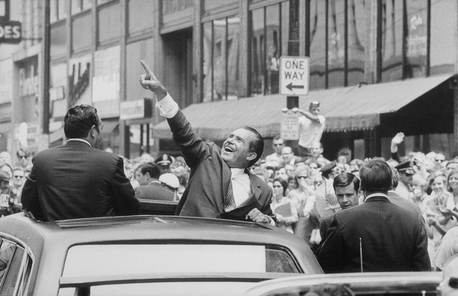 History Photograph - President Nixon Pointing At The Crowd by Everett