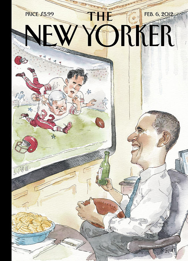 President Obama Watches Football On Tv Painting by Barry Blitt