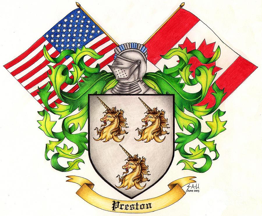 Crest Drawing - Preston Family Crest by Sheryl Unwin