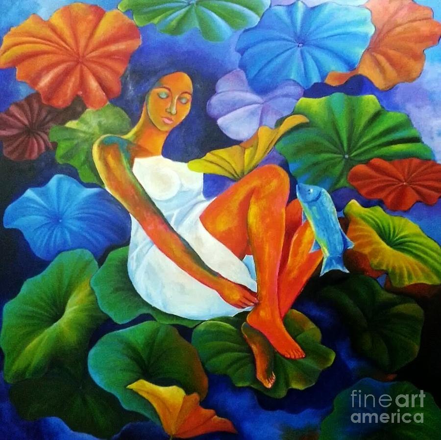Pretty Girl In Garden Painting by Monika Khazanchi
