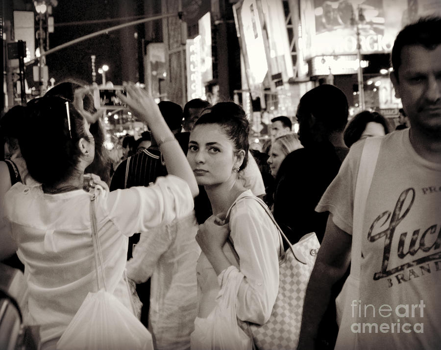 Girl Photograph - Pretty Girl In The Crowd - Times Square - New York by Miriam Danar