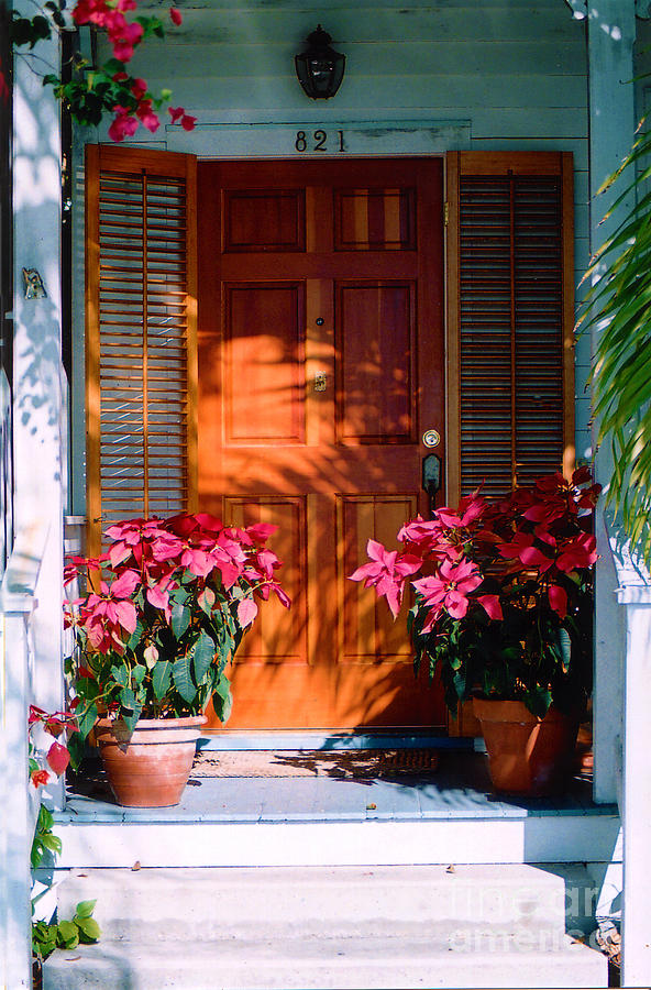 House Photograph - Pretty House Door In Key West by Susanne Van Hulst