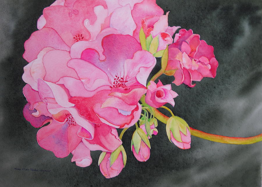 Geranium Painting - Pretty In Pink by Mary Ellen Mueller Legault
