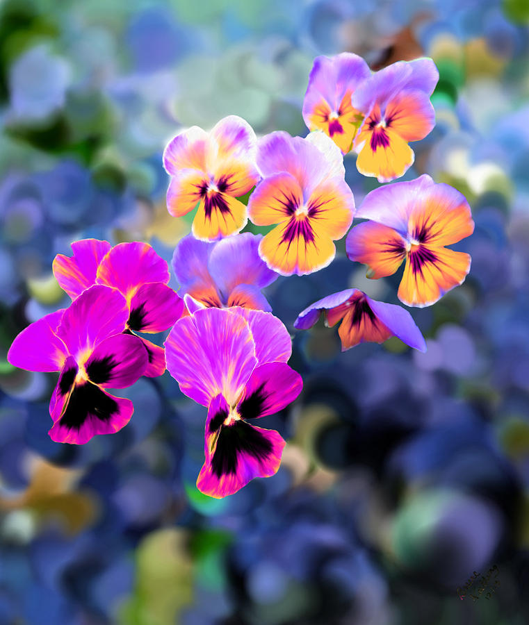 Violet Painting - Pretty Pansies 3 by Bruce Nutting