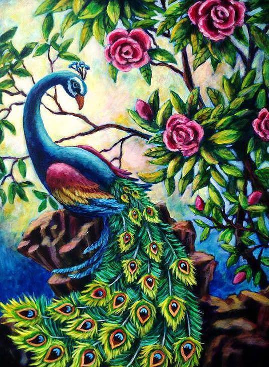 Luminous Painting - Pretty Peacock by Sebastian Pierre