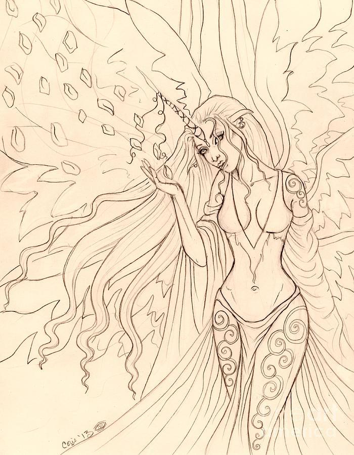 Sketch Drawing - Pretty Pegasus Sketch by Coriander  Shea