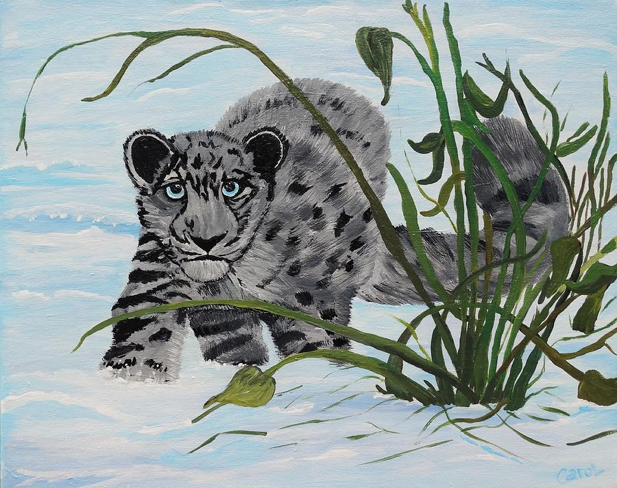 Cub Painting - Preying In The Snow by Carol Hamby