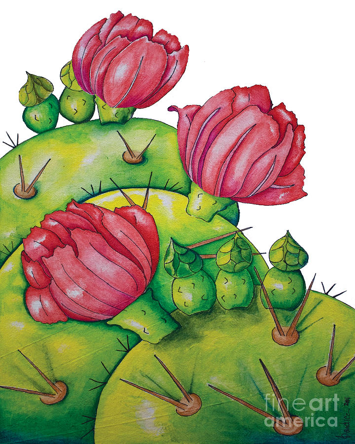 Floral Painting - Prickly Pear Bloom by Kandyce Waltensperger