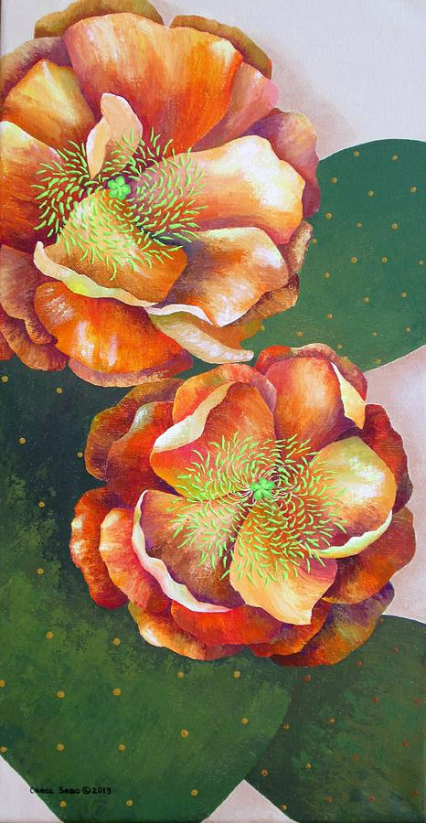 Cactus Flowers Painting - Prickly Pear Blossoms by Carol Sabo