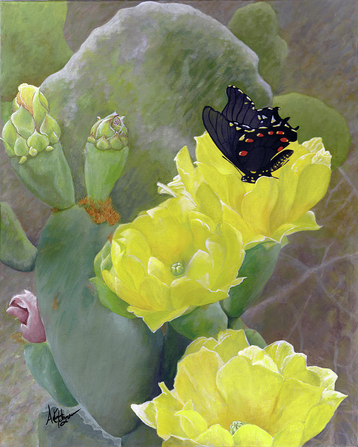 Cactus Painting - Prickly Pear Flower by Adam Johnson