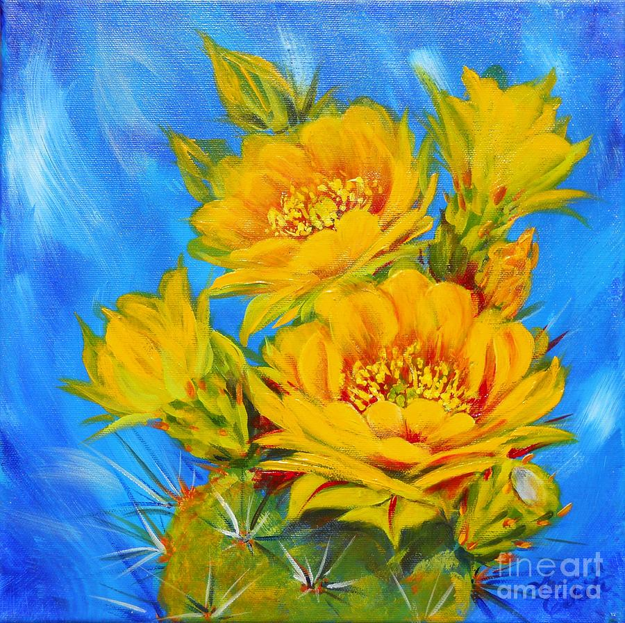 Southwest Painting - Prickly Pear In Bloom by Summer Celeste
