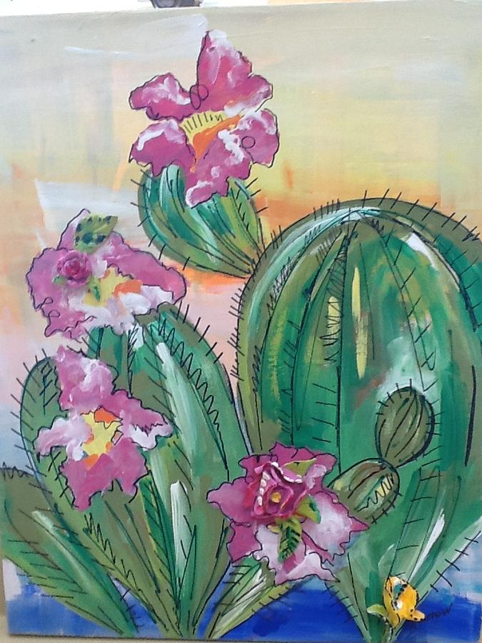 Cactus Mixed Media - Prickly Pear by Karen Carnow