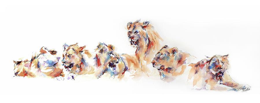 Lions Painting - Pride Of Samburu by Stephie Butler