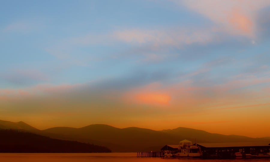 Boathouse Photograph - Priest Lake At Dusk by David Patterson