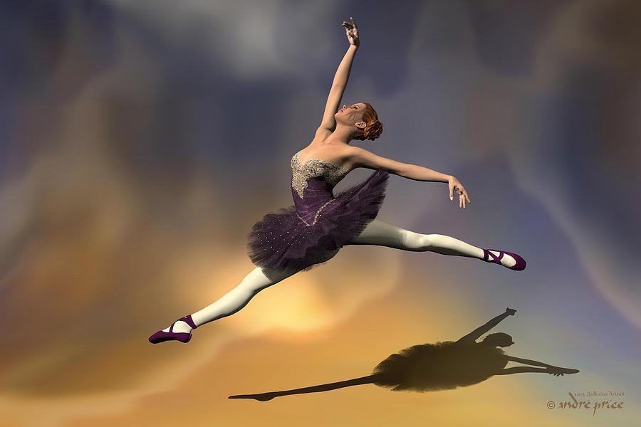 Prima Ballerina Digital Art - Prima Ballerina Georgia Grand Jete Pose by Andre Price