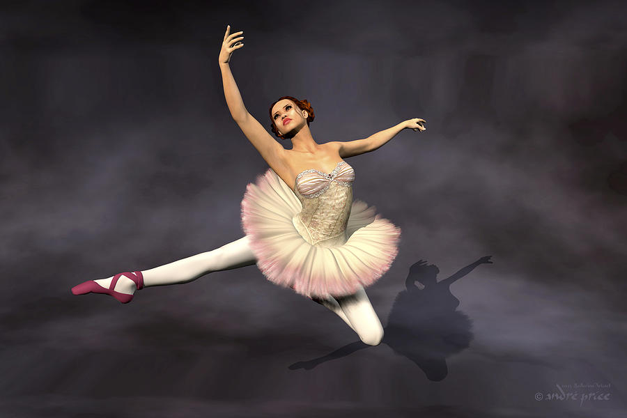 Prima Ballerina Digital Art - Prima Ballerina Heaven Jete Leap Pose by Andre Price