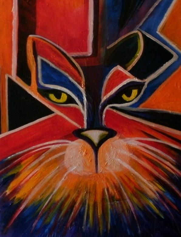 Cats Painting - Primary Cat by Carolyn LeGrand