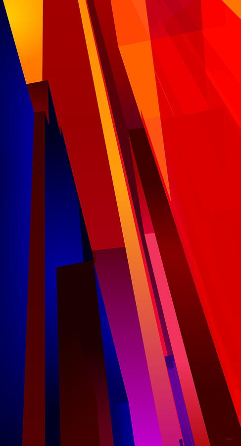 Abstract Digital Art - Primary Skyscrappers by James Kramer