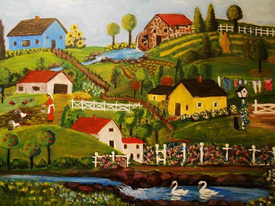 Primitive Painting - Primitive Landscape by Judith Bilick