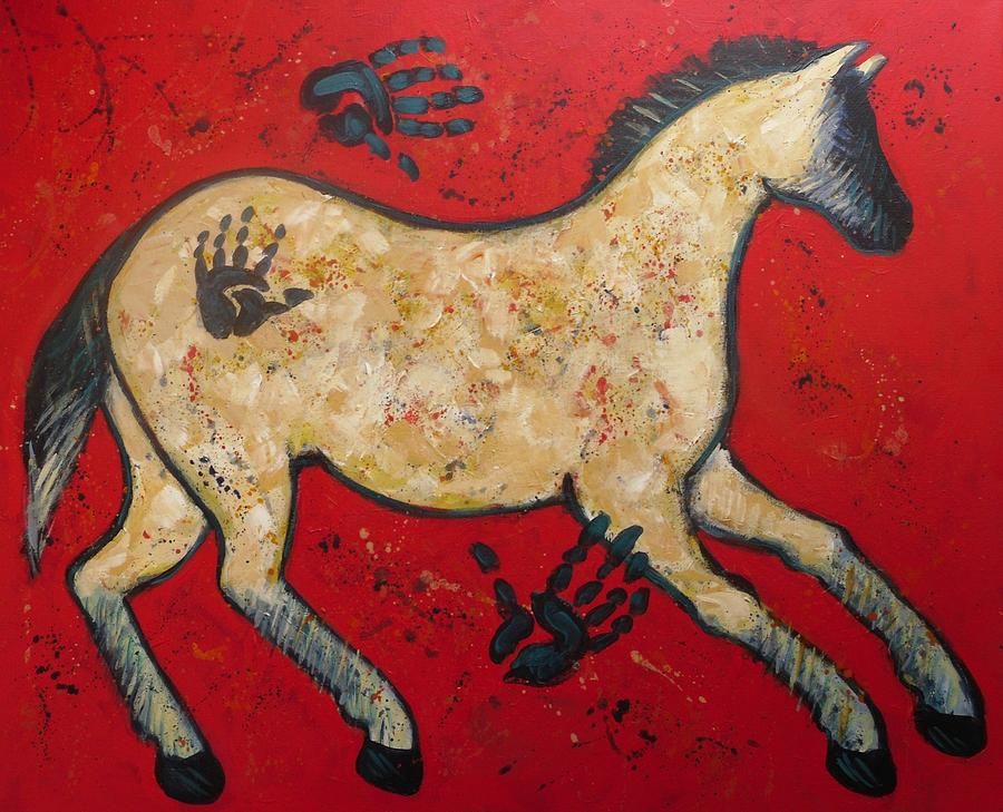 Horse Painting - Primitive Modern Cave Art Horse by Carol Suzanne Niebuhr