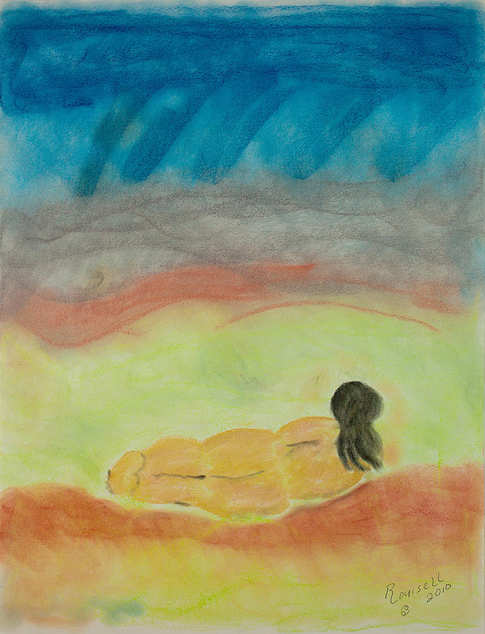Primitve Pastel - Primitive Woman In Repose by Robyn Louisell