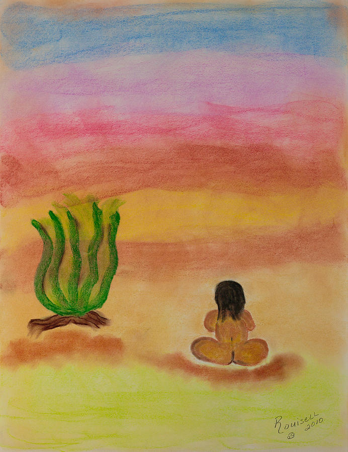 Primitive Pastel - Primitive Woman Sitting by Robyn Louisell