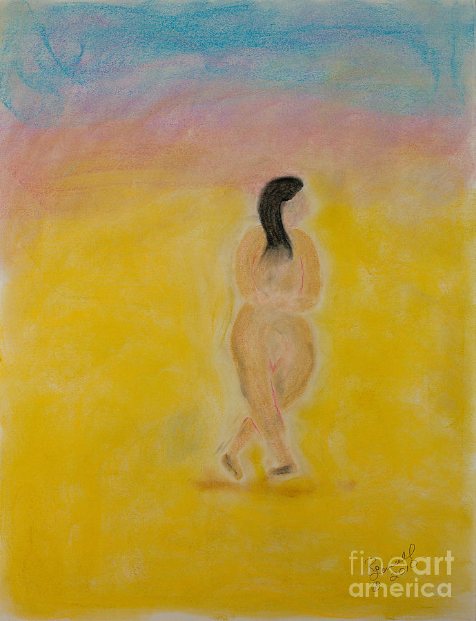 Primitive Pastel - Primitive Woman Walking by Robyn Louisell