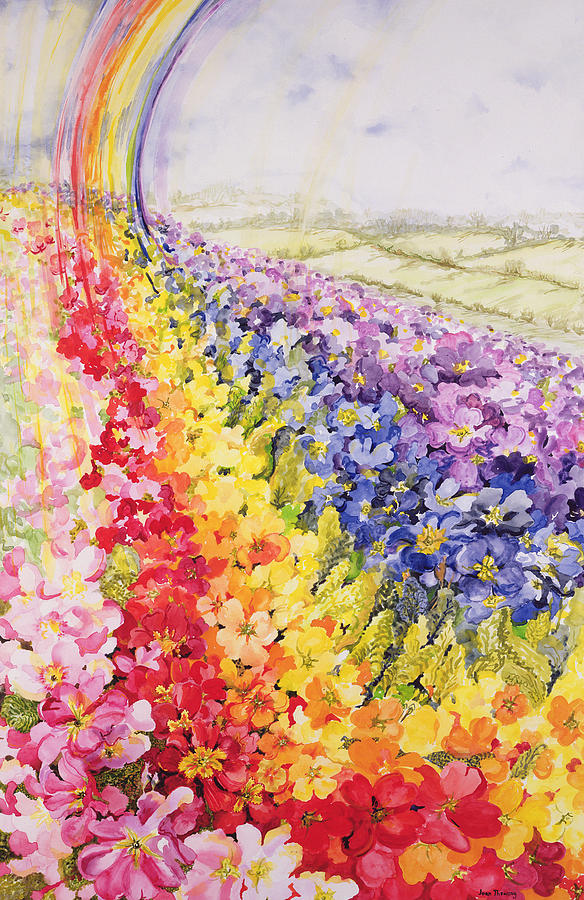 Watercolor Painting - Primrose Rainbow by Joan Thewsey