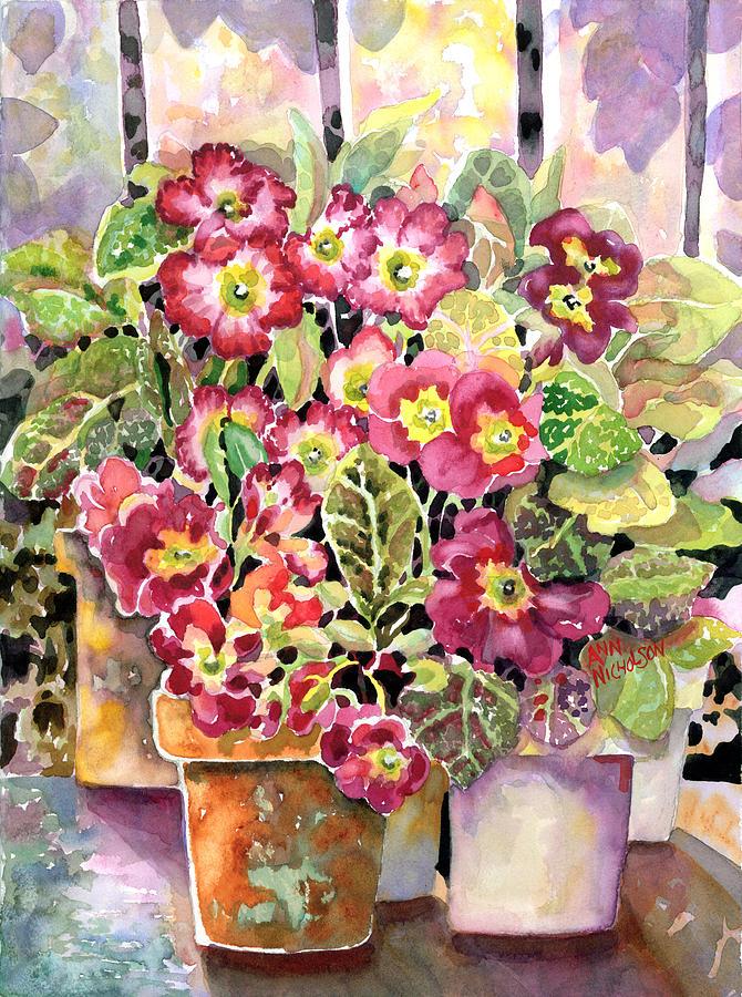 Primroses Painting - Primroses In Pots by Ann  Nicholson