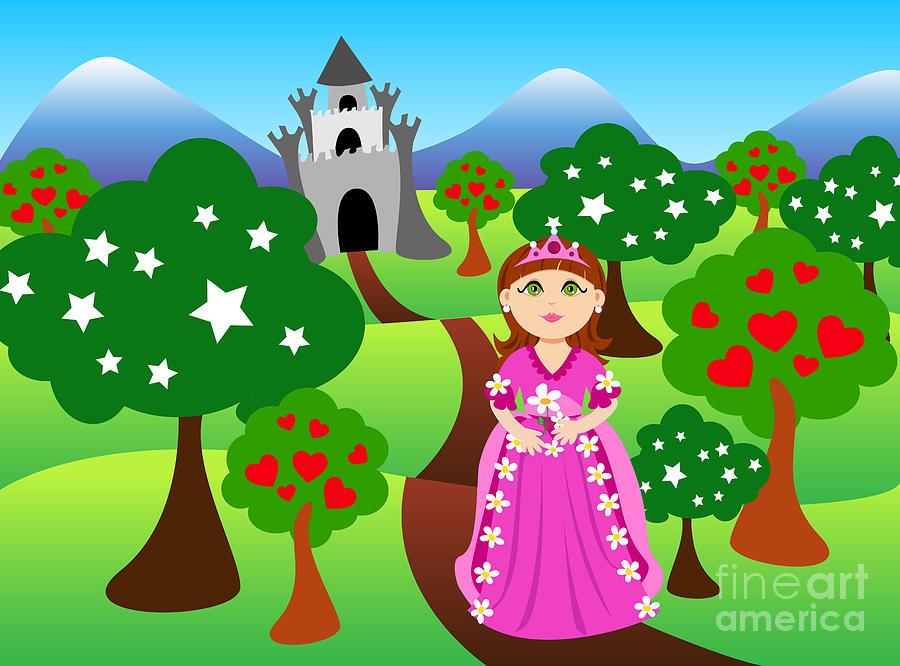 Cartoon Digital Art - Princess And Castle Landscape by Sylvie Bouchard