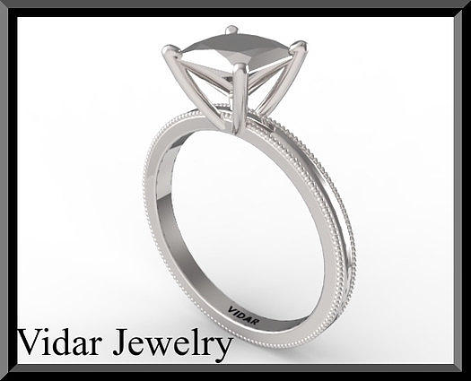 Gemstone Jewelry - Princess Cut Engagement Ring - Unique Silver Engagement Ring by Roi Avidar