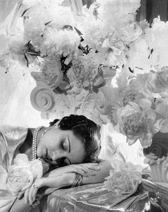 Princess Karam Of Kapurthala With Flowers Photograph by Cecil Beaton